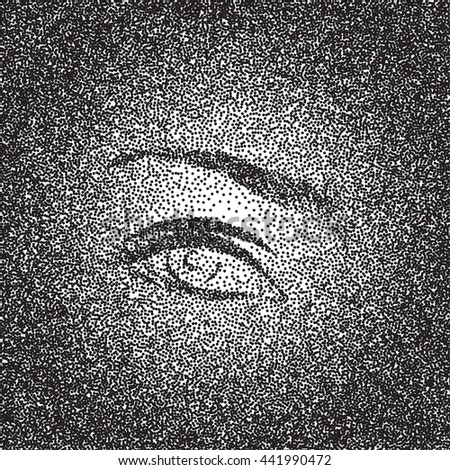 Vector black and white halftone background with eye. Stipple effect. - stock vector