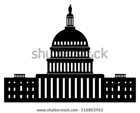 vector black and white icon of capitol building washington dc american congress