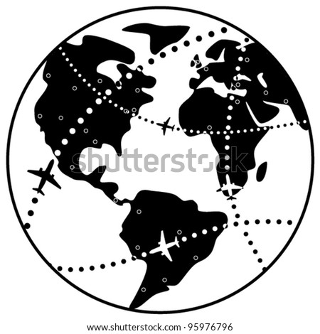 vector black and white illustration of airplane flight paths over earth globe - stock vector