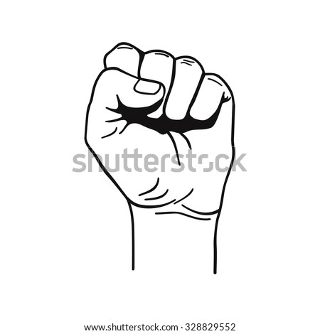 Vector black and white illustration of clenched fist held high in protest - stock vector