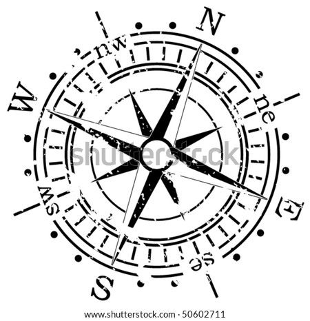 vector black and white illustration of old compass, grunge style
