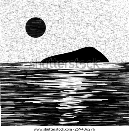 Vector black and white island and sea landscape  - stock vector
