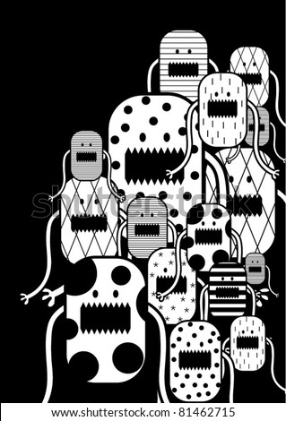 vector black and white little creatures - stock vector