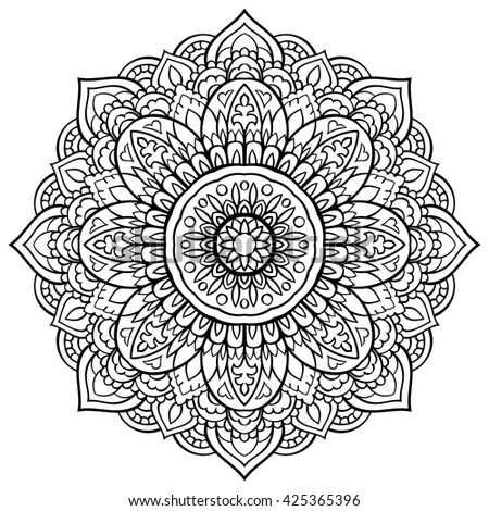 Vector black and white mandala. Ornament for coloring books. Round element for design. Sketch for tattoo. Oriental pattern.