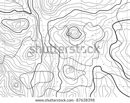 vector black and white map pattern with abstract topographical contour lines of mountains, latitude and longitude line, topography map art drawing with no names