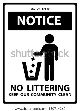 Vector : Black and White Notice Plate For Safety Present By Notice and No Littering Keep Our Community Clean Text With Littering Sign Isolated on White Background  - stock vector