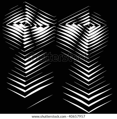 vector - black and white optical art - stock vector