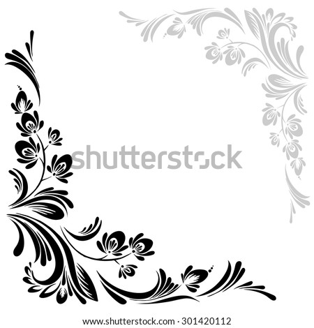 vector Black and white pattern with flowers, an ethnic Ukrainian ornament - stock vector