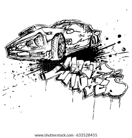 Vector black and white poster with car and signature in graffiti style