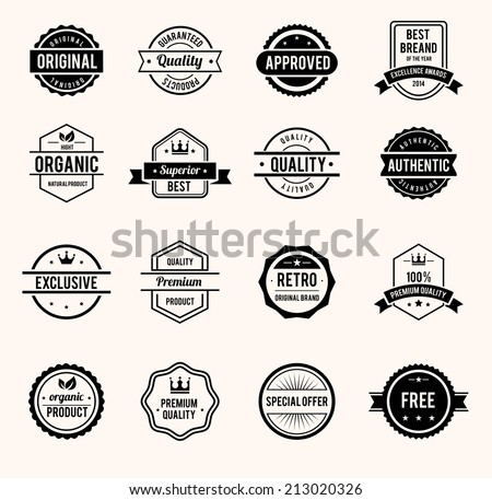 Vector Black and White Retro Stamps and Badges Isolated on White Background - stock vector