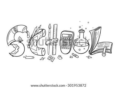 Vector Black and White School Illustration
