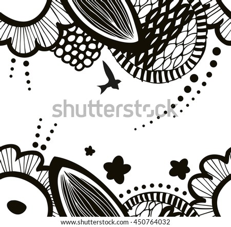 Vector black and white seamless decorative floral pattern. Abstract graphic background. Summer texture - stock vector