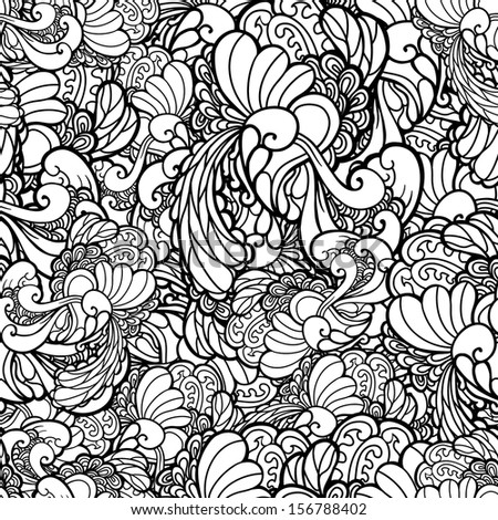 Vector black and white seamless floral pattern. Copy that square to the side,you'll get seamlessly tiling pattern. Floral background, can be used for decorationg cards, brochures, web - stock vector