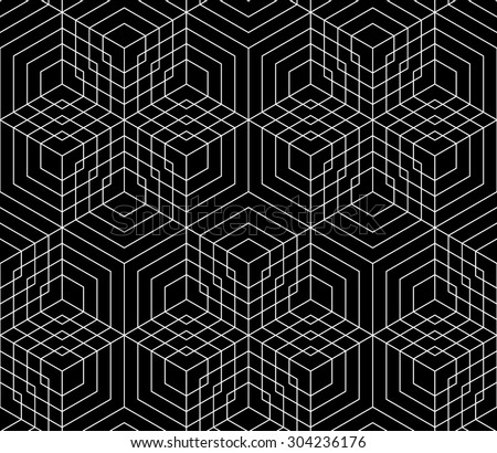 Vector black and white seamless pattern grid ,Modern textile print with illusion, abstract texture, Symmetrical repeating background - stock vector