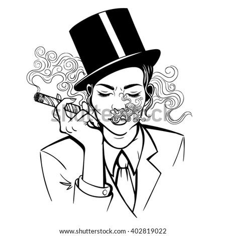 Vector Black and White Smoking Woman Illustration