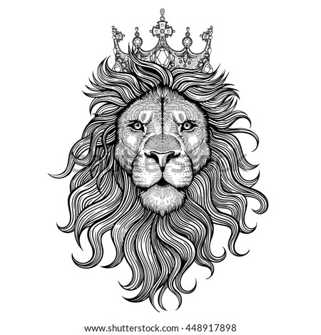 vector black white tattoo king lion stock vektor 448917898 shutterstock. Black Bedroom Furniture Sets. Home Design Ideas