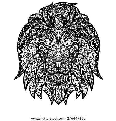Vector Black White Tattoo King Lion Stock Vector 448917898 ...