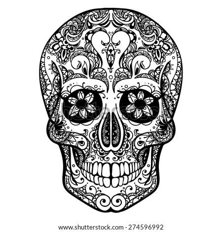 Vector Black and White Tattoo Skull Illustration - stock vector