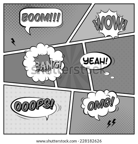 Vector black and white template of comic book page with various speech bubbles, rays, stars, dots, halftone background - stock vector