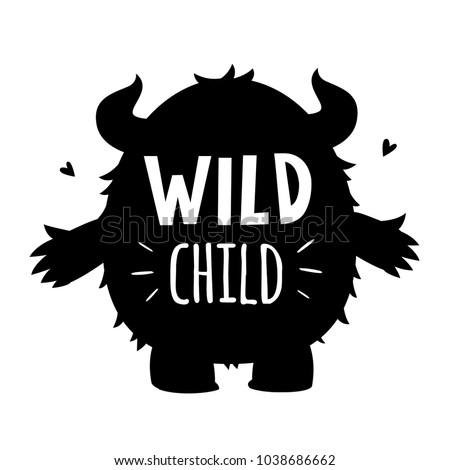 Vector Black White Wild Child Monster Stock Vector 1038686662