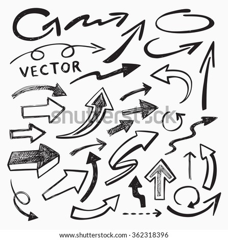 vector black arrow icon on white background - stock vector