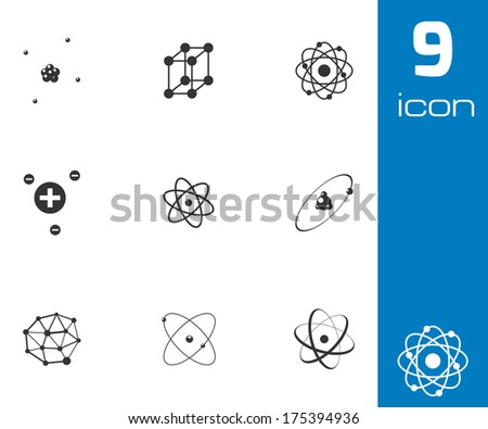 Vector black atom icons set on white background - stock vector