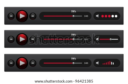Vector black audio players with different control navigation panel
