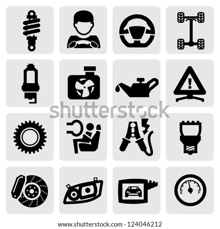 vector black auto icon set on gray - stock vector