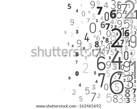 Vector black background from different numbers typography from right - stock vector