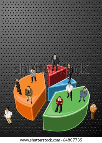 Vector black background with business people