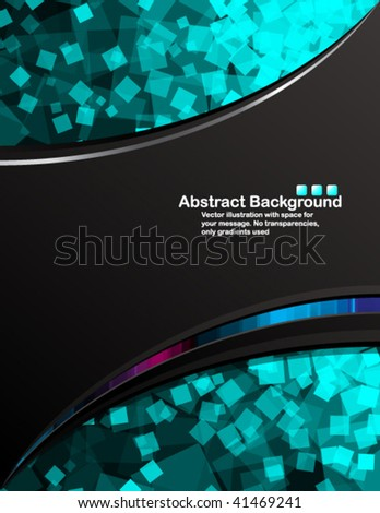 Vector. Black background with transparent random blue squares - stock vector