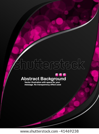 Vector. Black background with transparent random pink circles. - stock vector