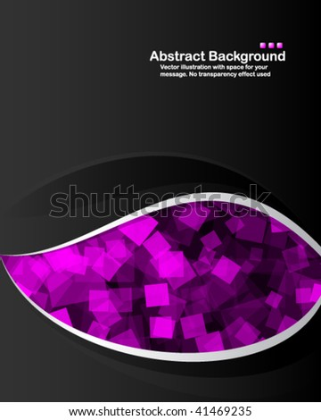 Vector. Black background with transparent random purple squares. - stock vector