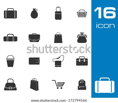 Vector black bag icons set on white background - stock vector