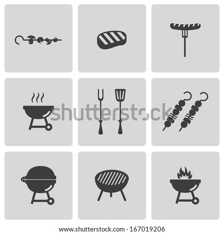 Vector black barbecue icons set on white background - stock vector