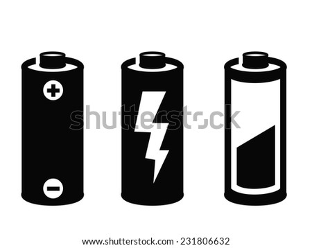 vector black battery icon on white background  - stock vector