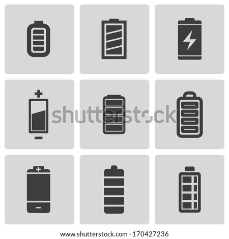 Vector black battery icons set on white background - stock vector