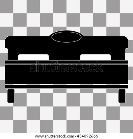Vector black bed icon on transparent