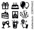 vector black birthday icon set on white background - stock