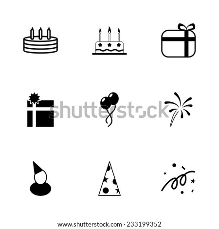 Vector black birthday icon set on white background - stock vector