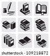 vector black books icon set in the gray squares - stock photo