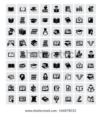 vector black books icon set in the gray squares - stock vector