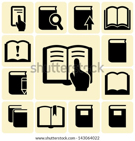 Vector black Books icons - stock vector