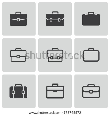 Vector black briefcase icons set on white background - stock vector
