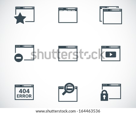 Vector black browser icons - stock vector