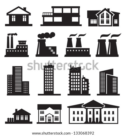 black and white apartment building clip art. vector black buildings and factories icons set on white Vector Black Illustration Building Icon On Stock 325616882