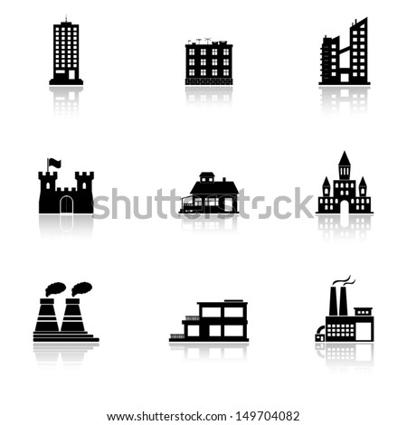 Vector black buildings and factories icons set on white - stock vector