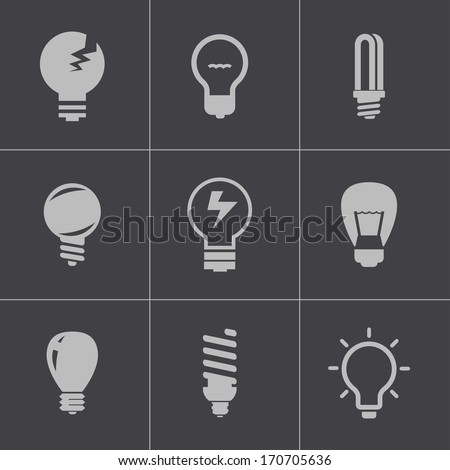 Vector black bulbs icons set on gray background - stock vector