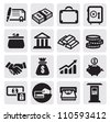 vector black business financial icons set on gray - stock photo