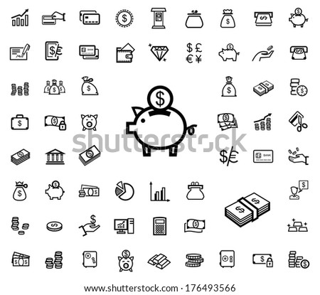 vector black business icons - stock vector